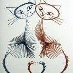 Вишиті коти по картону