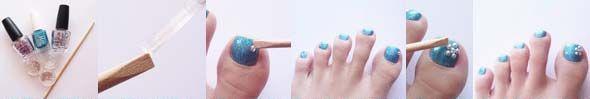 дизайн нігтів на ногах з прикрасами