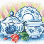 Вишита картина для кухні синіми нитками