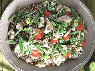 гречана каша з овочами і вешенками