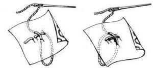 Закріплення нитки перпендикулярним стібком