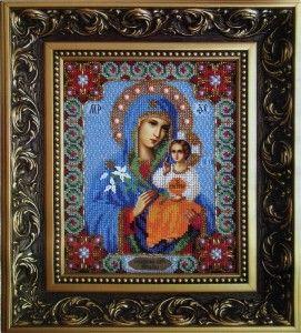 Оклад ікони Божої Матері, вишитий бісером
