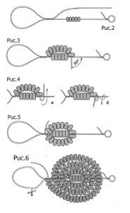 Схема французького плетіння бісером