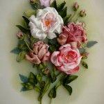 Букет квітів вишитий атласними стрічками