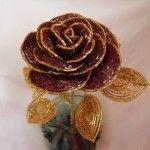 Роза з бісеру у французькій техніці плетіння