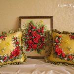Неймовірно красива вишивка стрічками на подушках