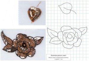 Бісерний візерунок золота троянда і лист