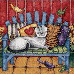 Вишиті кішки гобеленовим швом