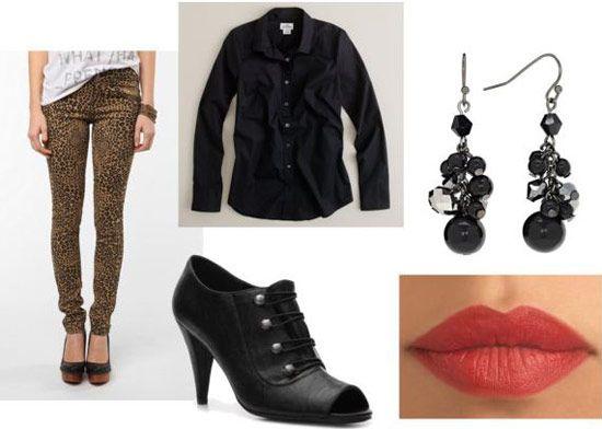 леопардові штани і чорна сорочка