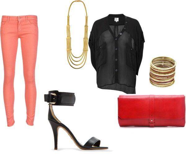 пастельні джинси і чорна сорочка