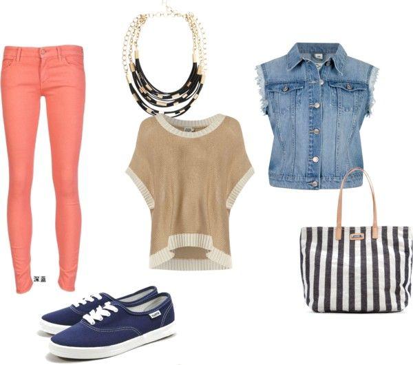 пастельні джинси і джинсовий жилетка