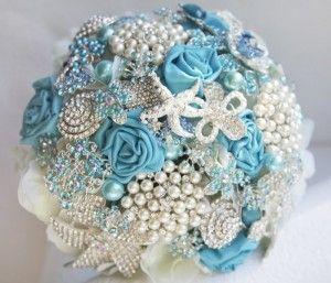Весільний букет з бісеру, намистин, атласних стрічок