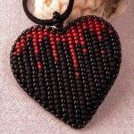 Кулон у вигляді серця з бісеру