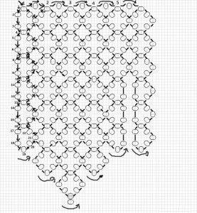 Схема плетіння коміра з бісеру