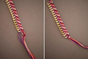 Фенічка з ниток, прикрашена ланцюжком