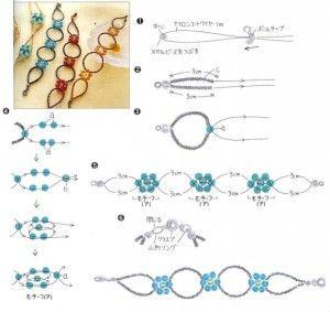 Схема плетіння і збірки ажурною фенечки з квіточками з бісеру
