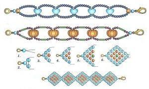 Схеми плетіння фенечек з бісеру в техніці