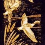 Картина в техніці вишивка золотими нитками
