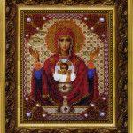 Вишита бісером ікона Божої Матері