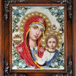 Вишита за допомогою бісеру ікона Казанської Божої Матері