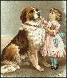 Вишита картина хрестом дівчини з собакою
