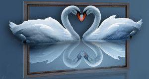 Лебедина пара вишита хрестом